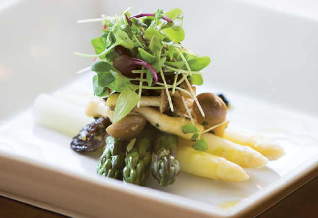 marinated asparagus and toybox mushrooms