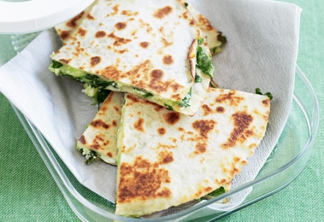 spinach, goat cheese & chili quesadilla