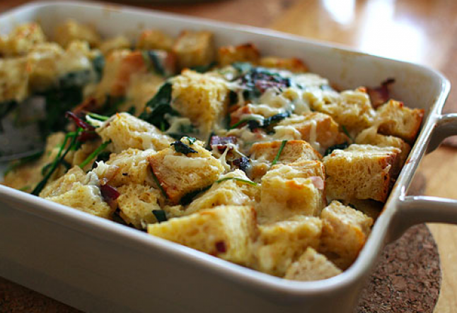 savory bread pudding with kale