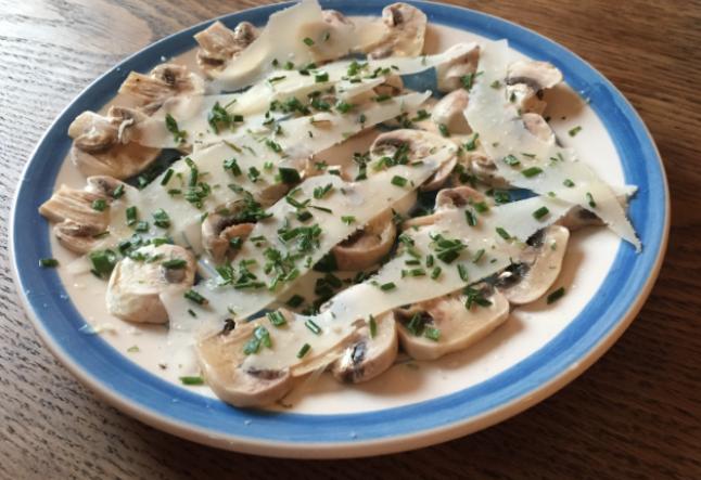 fresh raw mushroom & parmesan appetizer