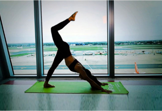yoga on a plane