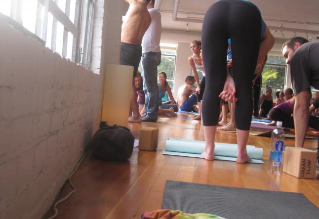yoga flow on a broken window