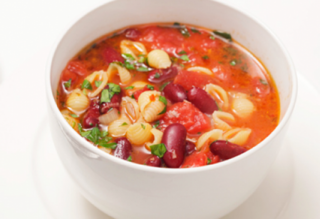 kidney bean soup with gluten-free pasta