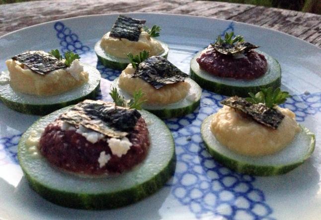raw cucumber bruschetta