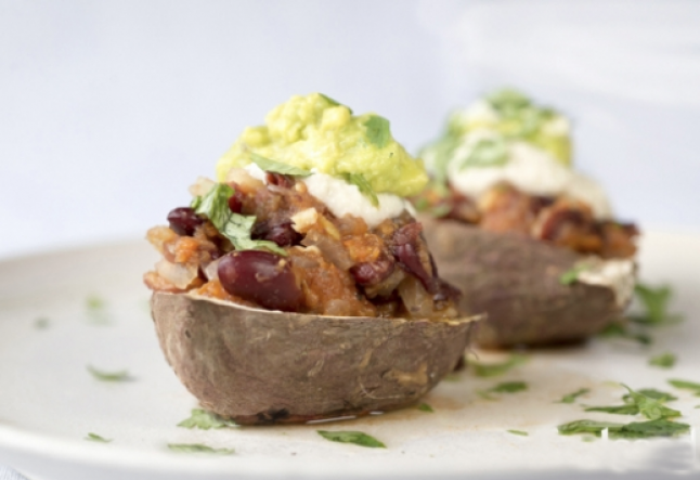 baked sweet potato with chili beans, guacamole & cashew sour cream