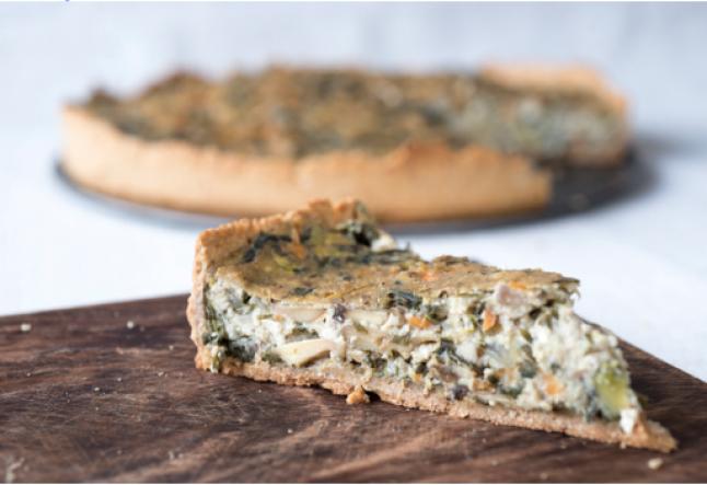 mushroom & spinach vegan quiche