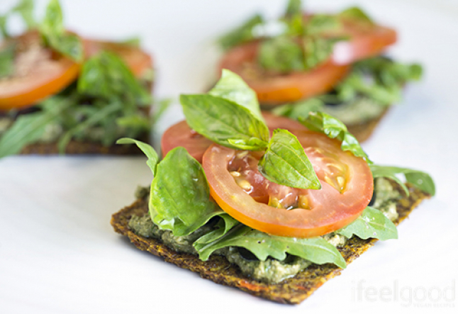 raw vegan flax seed cracker bruschetta's