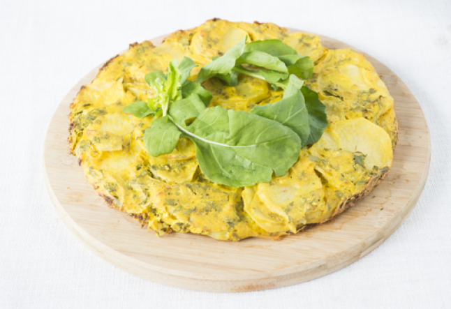 vegan leek, potato and thyme frittata