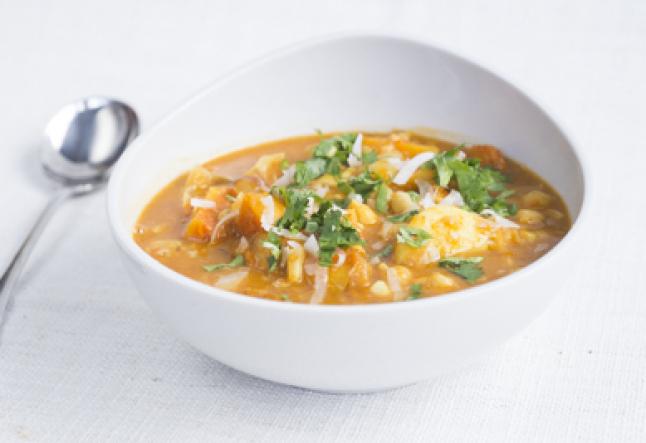 vegan chunky curried roast pumpkin & chickpea soup