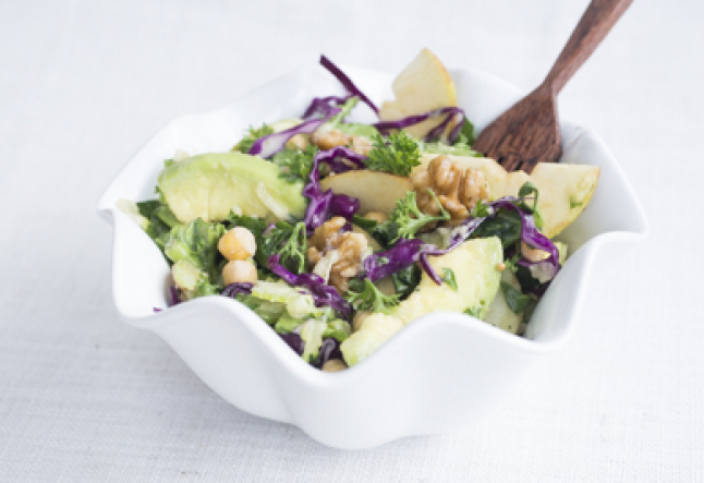 walnut, apple, chickpea & kale vegan salad with maple mustard dressing