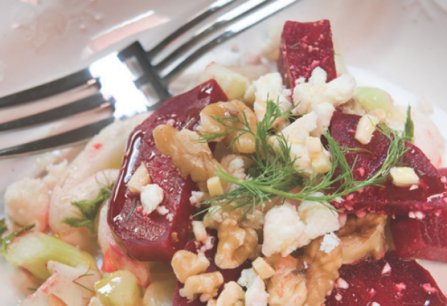 beetroot, fennel, walnut salad