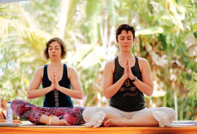 practicing yoga in bali